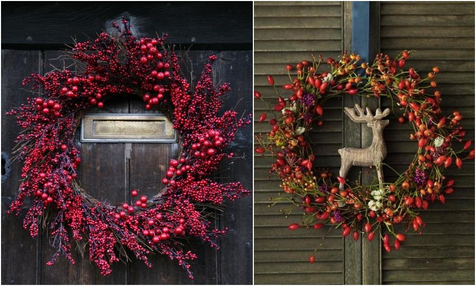 jesenné dekorácie na dvere zo šípok a bobuliek