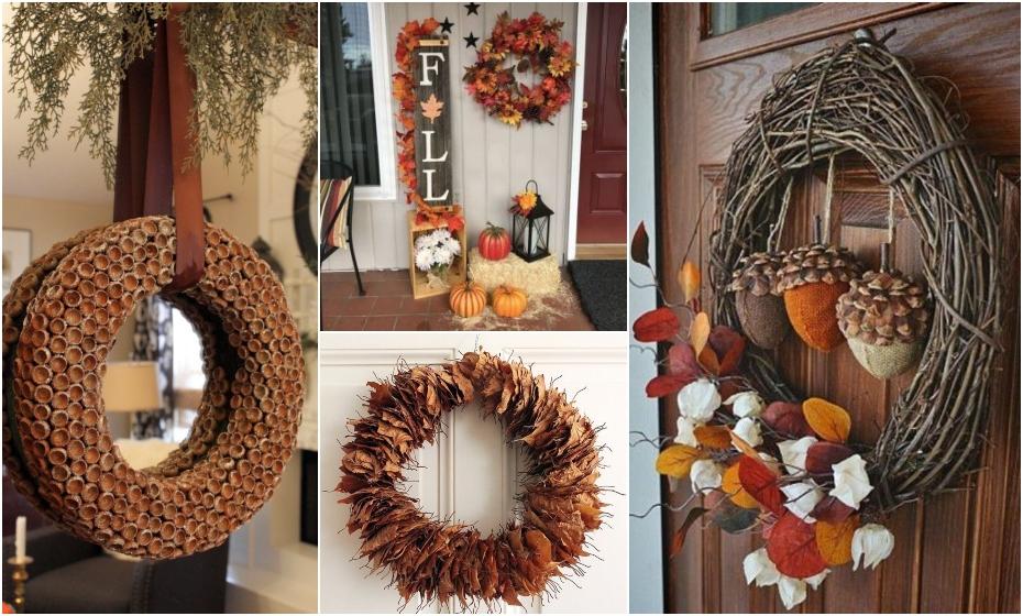 jesenné vence a dekorácie