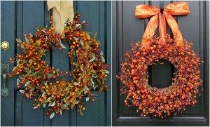 prírodná dekorácia na dvere