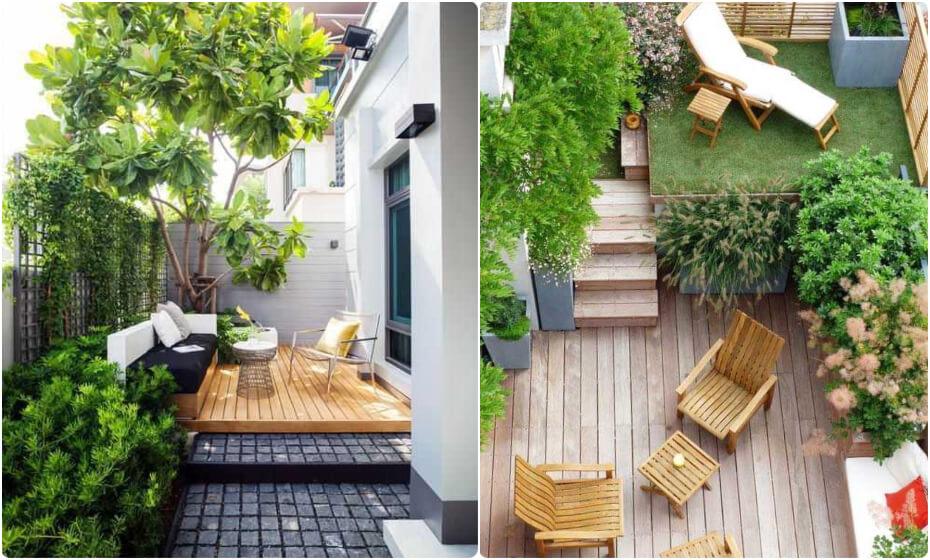 terasa v malej záhrade